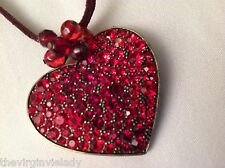 Virgin Vie VALENTINE 'HEART OF GLASS' Necklace Red Cut Glass Sparkle Stones *NEW