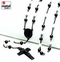 "Men's 6mm Black White Bead Guadalupe Jesus Cross 28"" Rosary Necklace HR 600 KKWH"