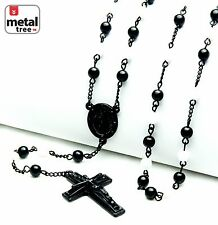 """6mm Black White Bead Guadalupe Jesus Cross 28"""" Rosary Necklace HR 600 KKWH"""
