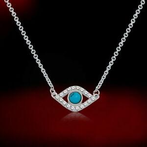 1Ct Round Turquoise & Diamond  Evil Eye Pendant Necklace 14k White Gold Finish
