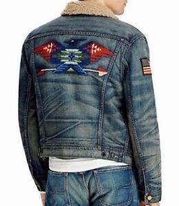 Polo Ralph Lauren Shearling USA Flag Southwestern Aztec Trucker Denim Jacket Men