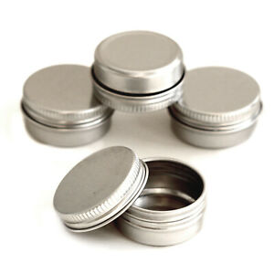 5ml-50ml Metal Storage Tin Jar Small Round Craft Stash Pot Lip Balm Cosmetics