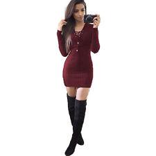 Women Sweater Jumper Mini Dress Ribbed Knitted Bodycon Party Clubwear Sweatdress
