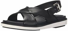 $350 NIB Italy Aquatalia Leather Thum Calf Combo Crisscross Sandal Black Sz 7,5