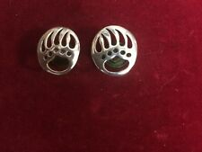 Conchos: Pair of Sterling BEAR Paws, Right & Left flush mount Post and screw