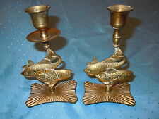 VINTAGE HEAVY BRASS COI FISH CANDLE HOLDERS CANDLESTICKS HONG KONG MID CENTURY