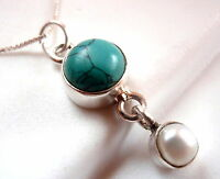 Turquoise and Dangling Freshwater Pearl  Necklace 925 Sterling Silver New