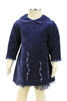JACADI Girl's Amarant Navy Blue Flower Embrodered Dress Age 18 Months NWT $66