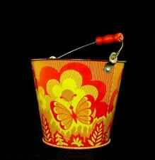 Vintage Old Russian Soviet Ussr Toy Sand Pail Tin Toy Norma w/ Bee & Butterfly