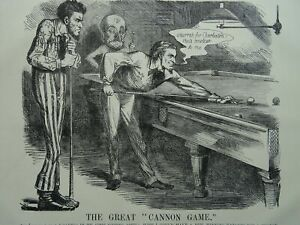 1863 Antique Victorian Print SNOOKER / BILLIARDS - THE GREAT CANNON GAME - USA