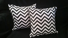 Cotton Cushion Covers Black White Stripes Hand Made Zig Zag(pair) 40cm