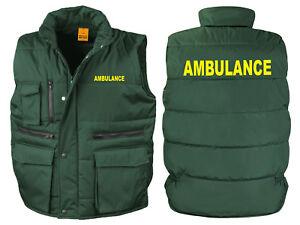 Ambulance Bodywarmer Gilet Bottle Green Printed Medic First Aid Jacket Coat