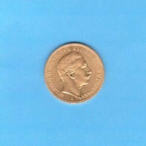 """Kaiserreich: 20 Mark Preussen 1891 """" Wilhelm II """" Jäger 252 Gold"""