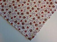 Dog Bandana/Scarf, Paw Prints, Hearts, Bones, Custom made by Linda, XS S M L