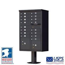 Vital Cluster Box Unit, 16 Mailboxes, 2 Parcel Lockers, Black