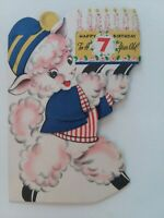 UNSIGNED Vtg 50s ANTHROPOMORPHIC LAMB w CAKE 7th BIRTHDAY GREETING CARD
