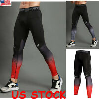 US Mens Compression Base Layer Pants Sports Gym Running Thermal Leggings Fitness