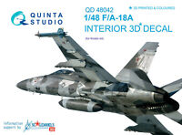 Quinta QD48042 1/48 F/A-18A 3D-Printed&coloured interior for (kinetic kit)