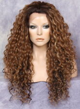 """30"""" Human Hair Blend Full Lace Front Wig Heat OK Spiral Curly Brown mix 7002"""