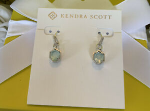 Kendra Scott Silver Earrings Light Blue Illusion Customized NWOT
