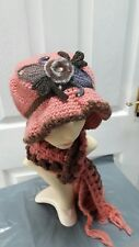 Ladies pinksalmon knitted set hat and scarf warm for Autumn and winter one size*