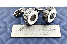 Montegrappa Piacere Black Plating Stainless Steel White Inlay Gunmetal Cufflinks