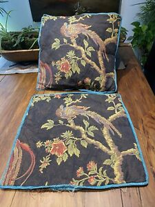 2 Brown Bird Of Paradise pillow covers 20x20 set