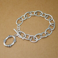 Solid 925 Sterling Silver Linked Oval Circle Hoop Chain T Bar Bracelet 16cm 17g