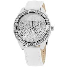 Guess Glitter Girl Silver Dial Leather Strap Ladies Watch W0823L1