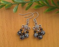 Lucky Knot Dangle Earrings Feng Shui Grey Black Obsidian Snowflaks stone Chinese