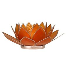 Find Something Different Capiz Shell Orange Silver Trim Lotus Chakra Tea Candle