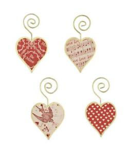 Bethany Lowe Tin Heart Shape Valentine Red and White Ornaments Set of 4