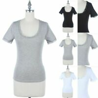 Solid Short Sleeve Scoop Neck Top with Lace Trim Casual Easy Wear Cotton S M L