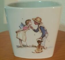 NORMAN ROCKWELL FTD PLANTER-FLOWERS & KISSES-1983-HEAVY EARTHENWARE