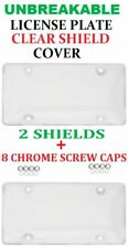 2 UNBREAKABLE CLEAR BUBBLE LICENSE PLATE TAG HOLDER FRAME BUMPER SHIELD COVER