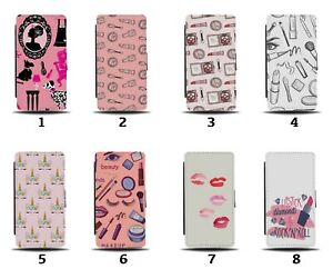 Make Up Pattern Flip Wallet Case Design Girls Mascara Pink Lipstick Lips 8214b