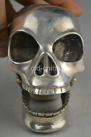 China old copper plating silver hand-carved skull statue e01