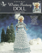 Winter Fantasy Fashion Doll Crochet Dress Gown Barbie Pattern Annie's Attic NEW