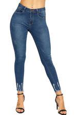 Jeans da donna alti invecchiato denim