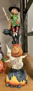 Enesco Jim Shore Heartwood Creek Halloween Stacked Ghost/Pumpkin/Cat NIB 6006698