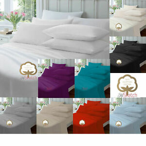 """100% EGYPTIAN COTTON EXTRA DEEP FITTED SHEETS 16""""/40CM DROP CLEARANCE PRICES"""