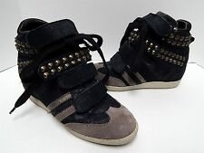 Serafini Black Leather Taupe Suede Studded High Top Fashion Sneaker 40 US sz 9.5
