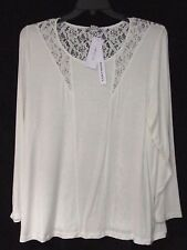 NEW Modamix 0X Knit Top w/ Lace Back and Lace Trim Ivory Cream Poss fit XL NWT