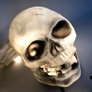 Vtg Kidkis Skull Skeleton Limb Blow Mold Lighted Light Up Yard Decoration Ground