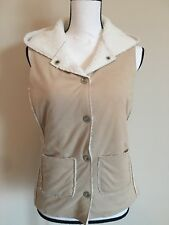 JONES NEW YORK COUNTRY Women's Tan Faux Suede Sherpa Snap Vest Hooded SIZE PP