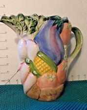 "Fitz & Floyd ""Vegetable Garden"" Pitcher,8"", 1 3/4 Qt, Mulit-colored, glazed,1986"