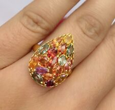 14k Solid Yellow Gold Cluster Pear Ring, Natural Colors Sapphire 3TCW,Sz7.5