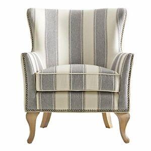 Dorel Living Reva Living Room Accent Chair, Gray Stripe