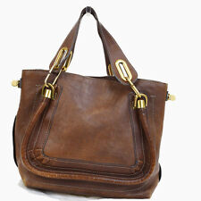Authentic Chloe Logos Paraty Hand Bag Leather Brown Gold -Tone Italy 04Q445