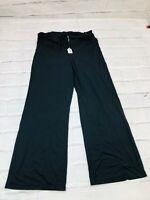 Phee Women's Wide Leg Pants Size Large Palazzo Nylon Spandex High Rise Black USA
